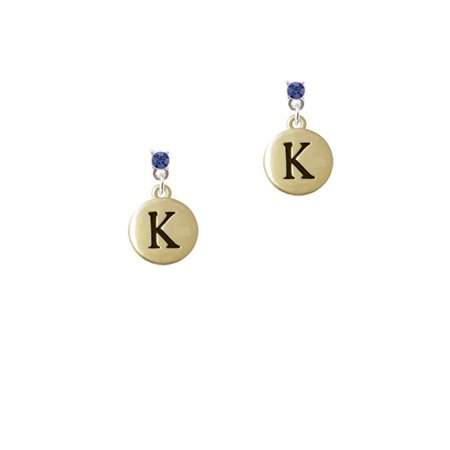 Capital Gold Tone Letter   K   Pebble Disc    Blue Crystal Post Earrings