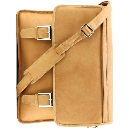 Tan Leather w/Buckles Shoulder Strap Briefcase (16x4mm)