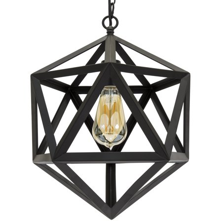 - Best Choice Products 12in Industrial Wrought Iron Chandelier Light Fixture for Home, Dining Room, Cafe - Black