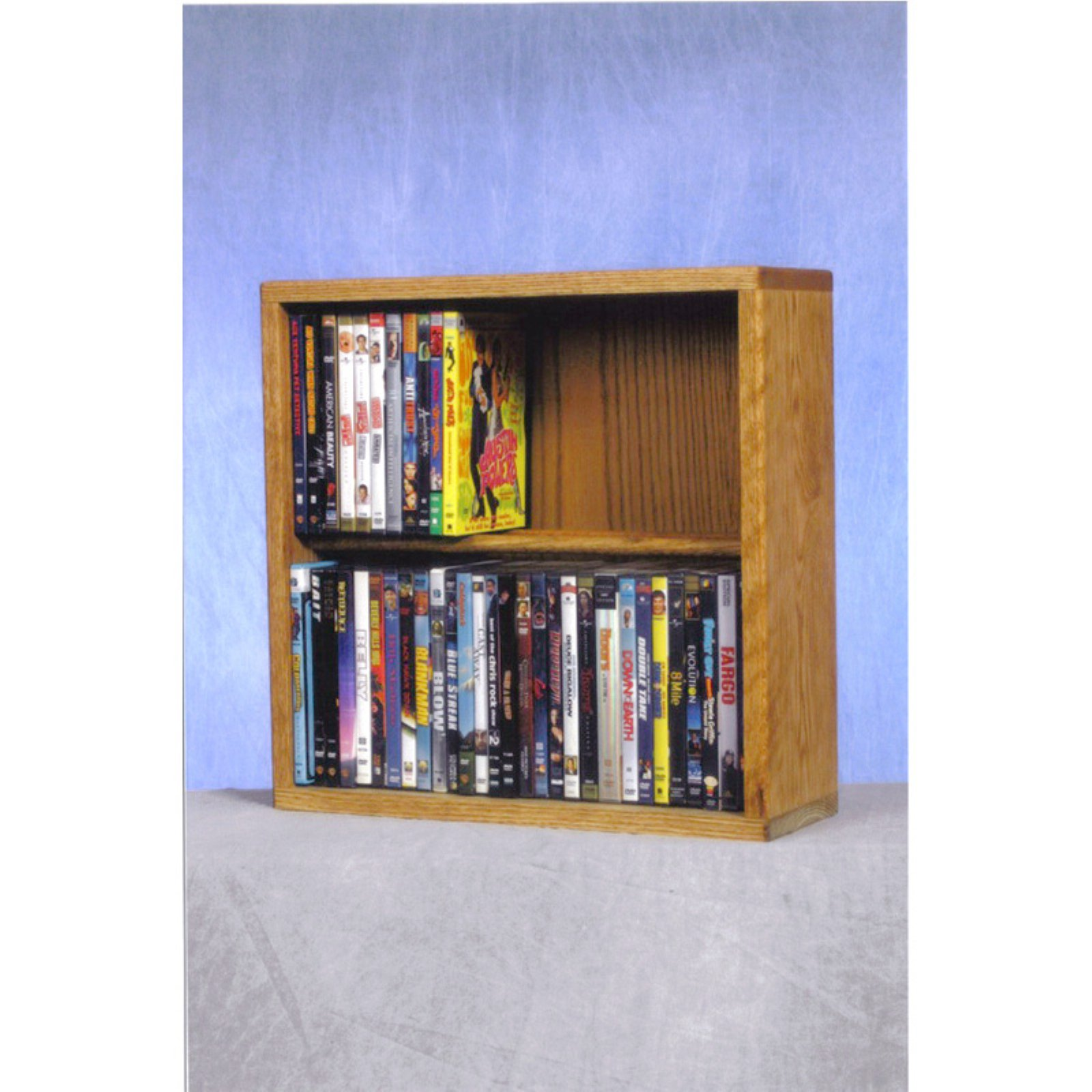The Wood Shed Solid Oak 2 Row Dowel 60 DVD Media Rack