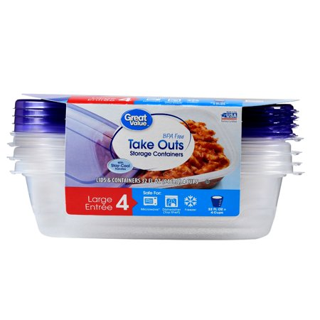 (2 pack) Great Value Take Outs Storage Containers with Lids, BPA Free, 32 fl oz, 4 Count