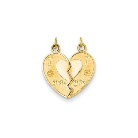 14k Yellow Gold I Love You Break Apart Heart Pendant Charm Necklace Special Person Fine Jewelry For Women Gift Set