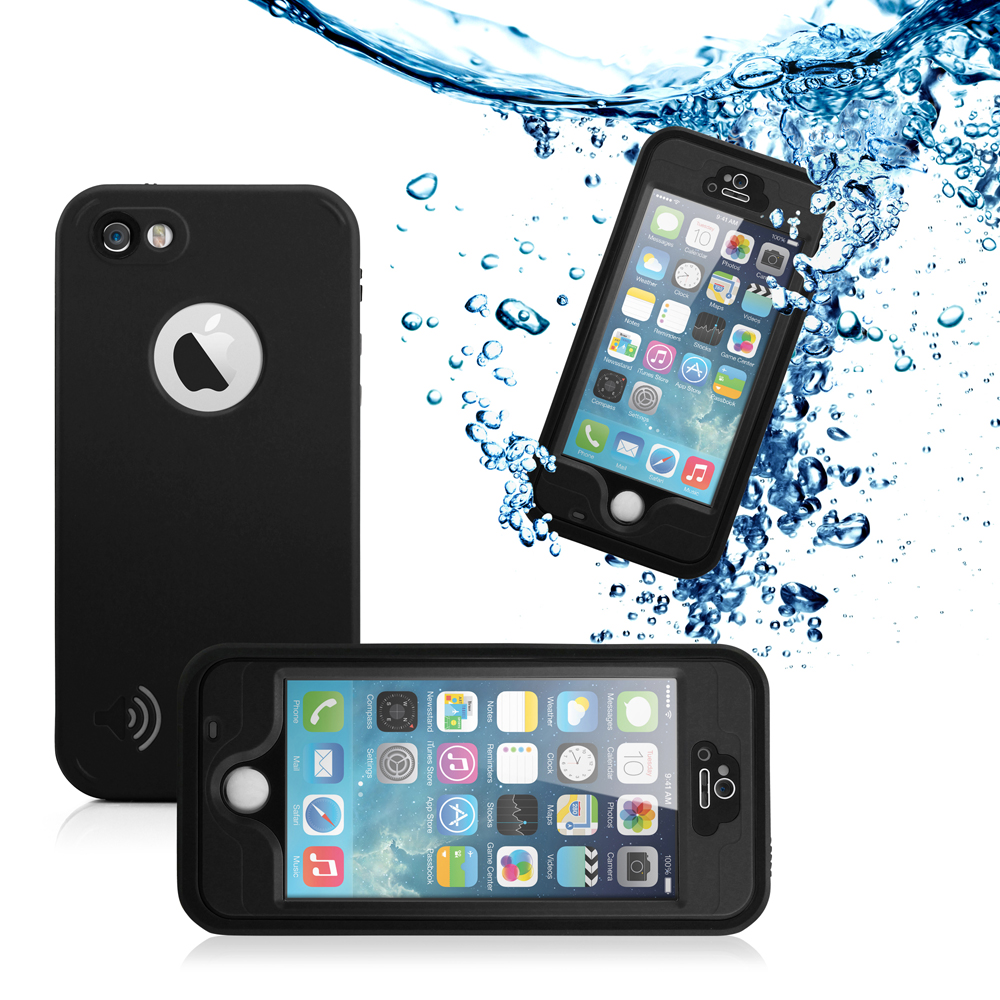 GEARONIC Durable Waterproof Shockproof Snow DirtProof Fingerprint Scanner Full Case Cover for Apple iPhone SE & 5 5S - Black