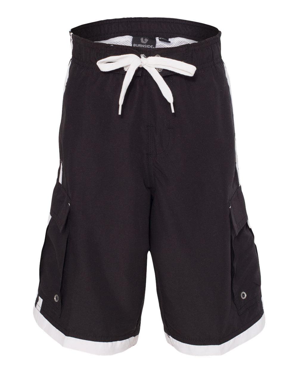 Burnside 4401 Boy's Striped Swim Trunks - Black/ White - X-Large