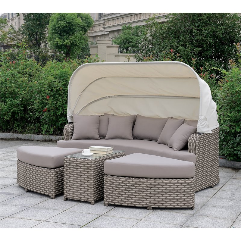Furniture of America Natalie Contemporary Patio Daybed in Gray