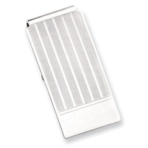 Rhodium-plated Etched Lines Hinged Engravable Money Clip