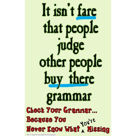 Youth Change Poster #217 Funny Grammar Poster Teaches Students to Care About Spelling for $<!---->