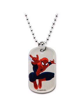 """Spider-Man Marvel Stainless Steel Youth Dog Tag, 16"""""""
