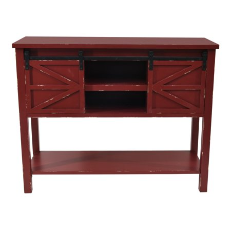 Antique Farmhouse Console Table with 2 Sliding Barn Doors and Shelf Space in The Middle in Antique Red ()