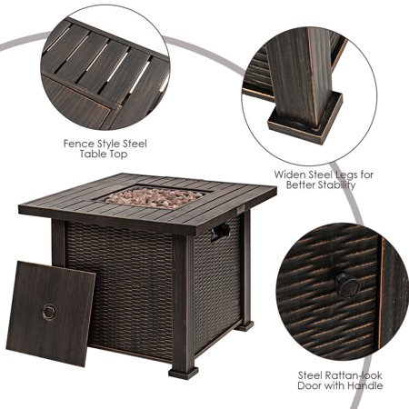Gymax 30'' Gas Fire Table 50,000 BTU Square Propane Fire Pit Table w/Lid and Lava Rocks - image 7 of 10