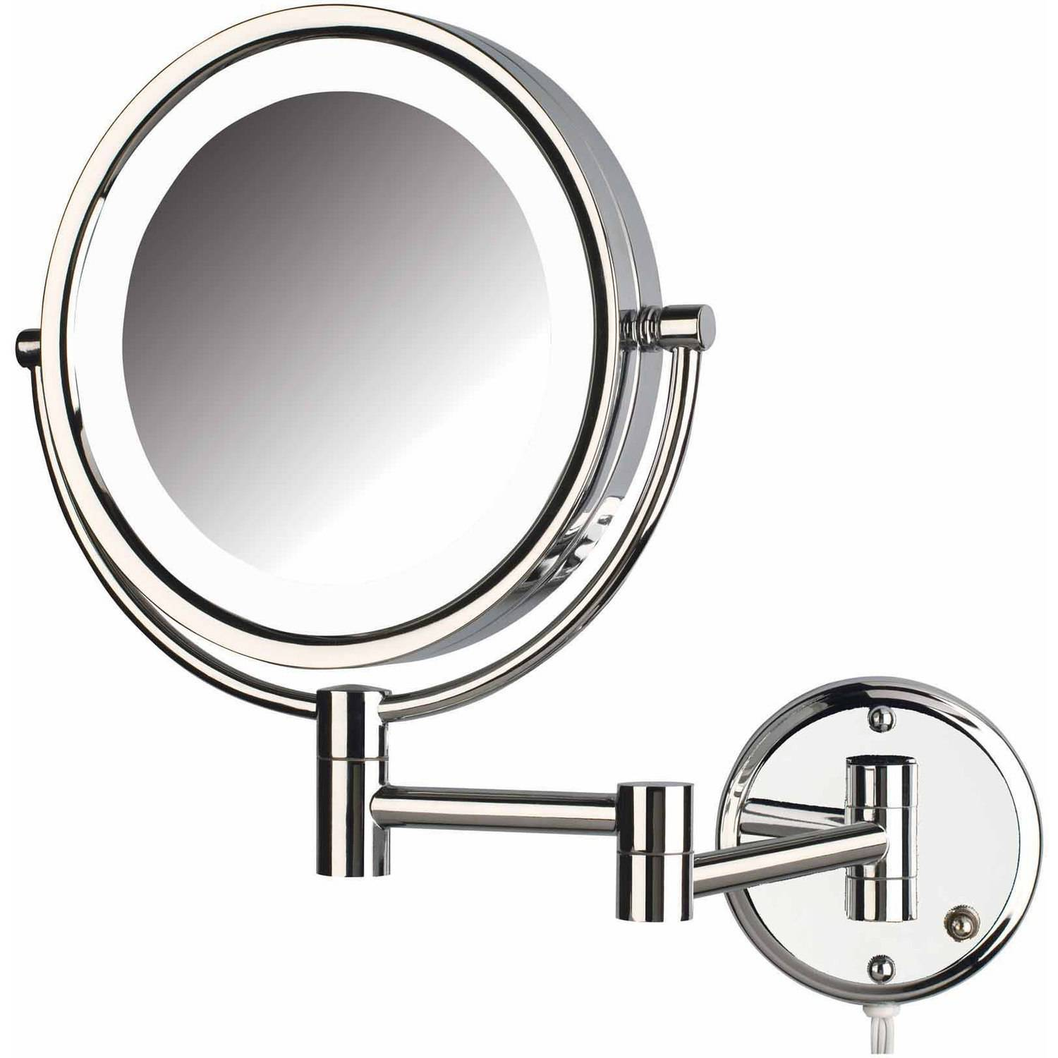 "Wall Mounted Lighted Vanity Mirror jerdon hl88cl 8.5"" led lighted wall mount makeup mirror with 8x"