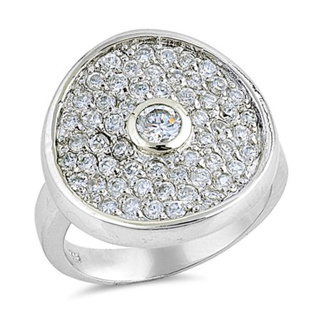 - Clear CZ Micro Pave Circle Wide Ring ( Sizes 6 7 8 9 ) New .925 Sterling Silver Band Rings by Sac Silver (Size 7)