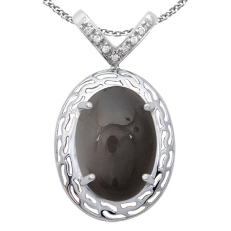 925 Sterling Silver 25 1/7 Carat Grey Moonstone and Cubic Zirconia Necklace 925 Natural Moonstone Pendant