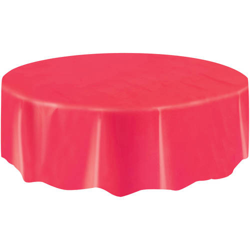 Bon Red Plastic Party Tablecloth, Round, 84in