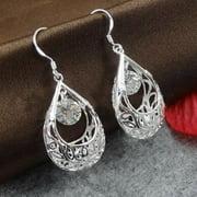 Heepo Vintage Big Rhinestone Women Hollow Dangle Hook Earrings Jewelry Xmas Gift
