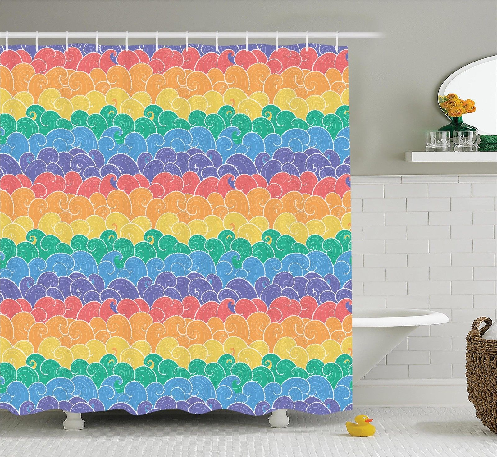 Nautical Decor  Colorful Waves Cartoon Sea Pattern In Rainbow Colors Fun Children Art Travel, Bathroom Accessories, 69W X 84L Inches Extra Long, By Ambesonne