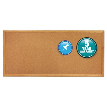 Quartet Classic Series Slim Line Cork Bulletin Board, 12 x 36, Oak Finish Frame -QRT300 (Math Bulletin Boards)