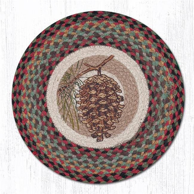 Capitol Importing 57-081P 15 in. Pinecone Round Printed Placemat Rug