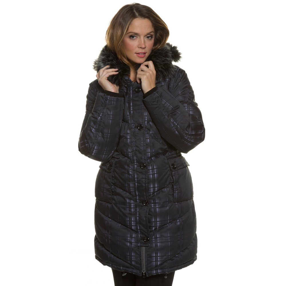 Ulla Popken Women's Plus Size Faux Fur Quilted Down Winte...