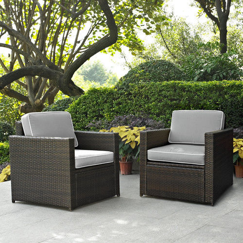 Crosley Furniture KO70005BR GY Palm Harbor 2 Piece Resin Wicker Outdoor  Chair Set (