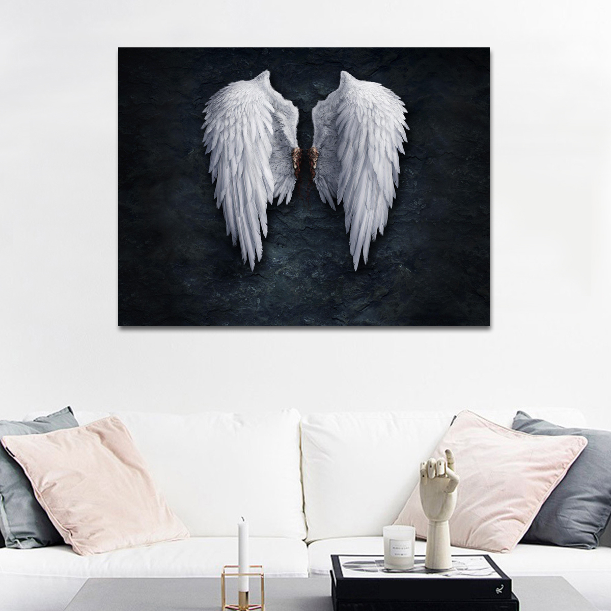 Abstract Canvas Wall Art of Angel Wings Painting White Art Artwork Wall Decor Modern Stretched and Painting Canvas the Picture For Living Room Decoration No Framed