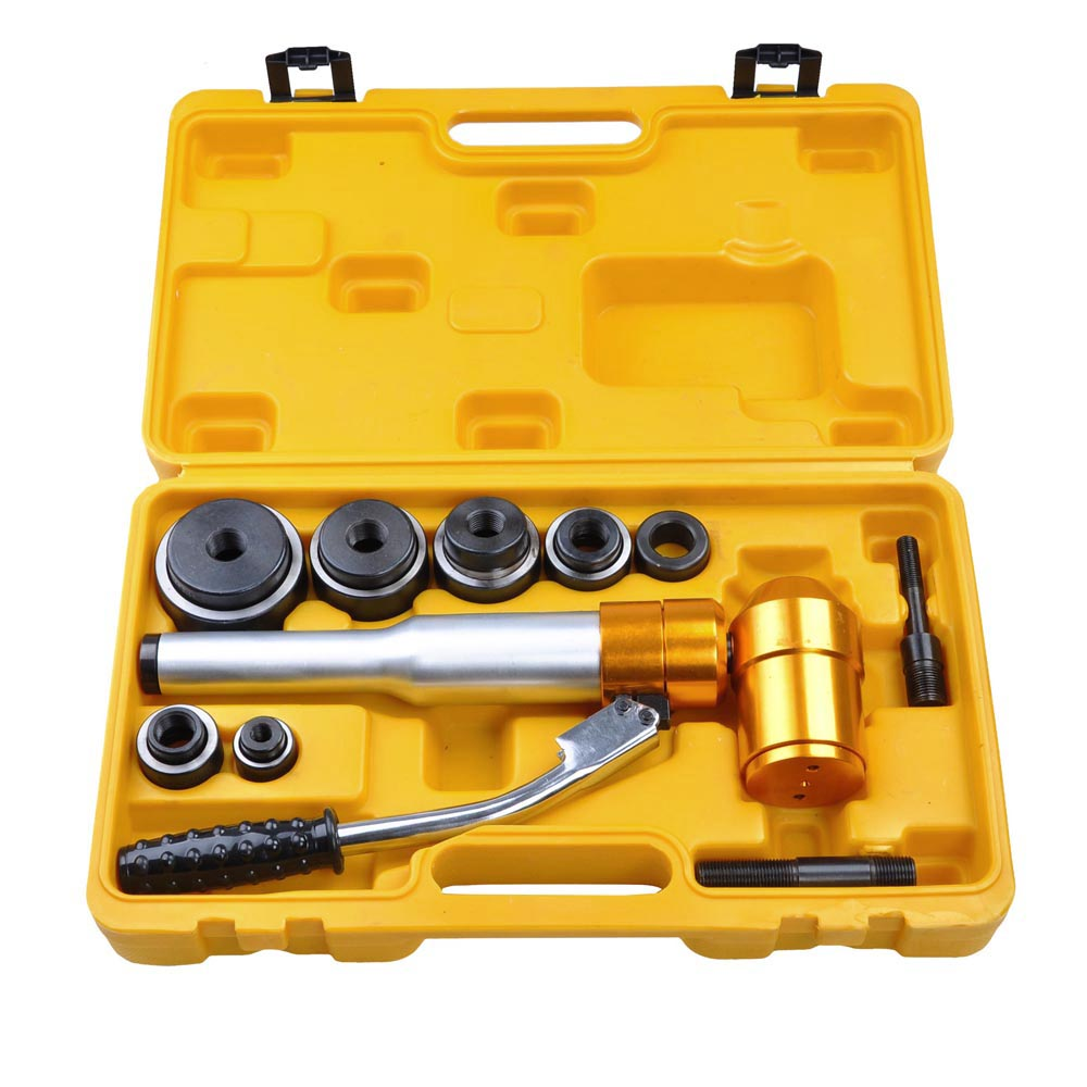6 Dies 6 Ton Hydraulic Knockout Punch Driver Kit Hand Pump Hole Tool 11-gauge Metal Case