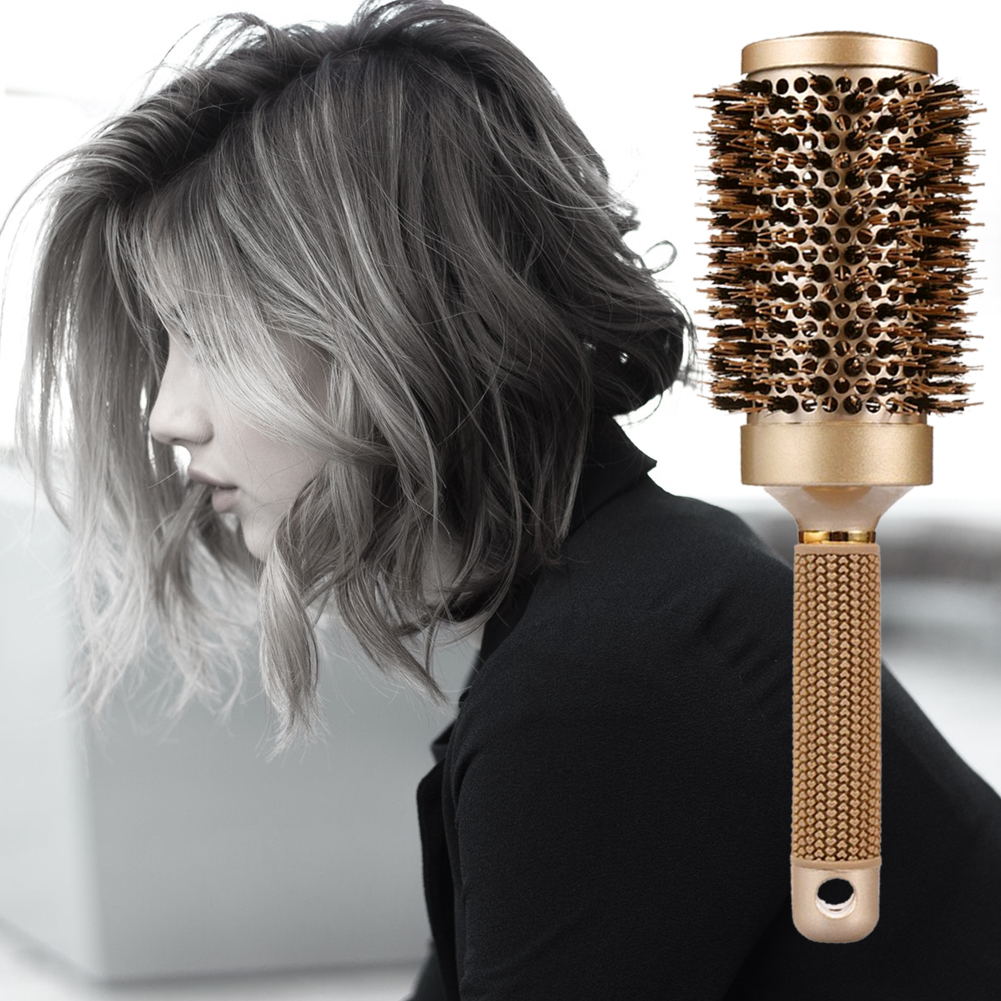Round Brush for Blow Drying with 3Pcs Hair Clips, Natural Boar Bristle, Nano Thermal Ceramic & Ionic Hair Round Barrel Brush for Blowout, Curling & Straightening, Women, Man Gold hair brush 3.3 inch
