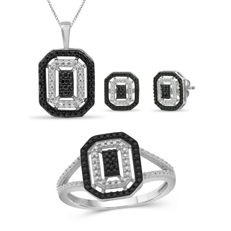 JewelersClub Black Diamond Accent Sterling Silver 3-Piece Jewelry Set