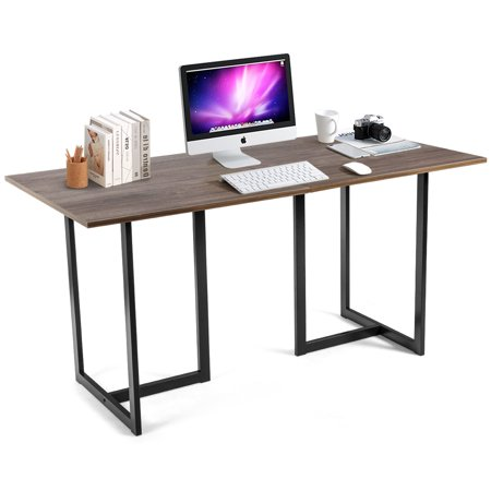 Costway 60'' Computer Desk Large Office Writing Desk Study Workstation with Metal Frame Studio Writing Desk