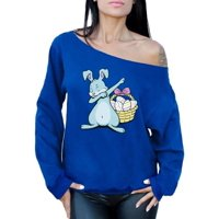 Awkward Styles Dabbing Easter Bunny Off Shoulder Sweatshirt for Women Cute Easter Bunny Sloucy Oversized Sweater Easter Gifts for Her Easter Egg Hunt Costume Easter Basket Stuffers for Women