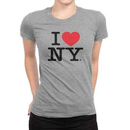 78ba62e0 Nyc Factory - I Love NY New York Womens T-Shirt Spandex Tee Heart Gray  Small - Walmart.com