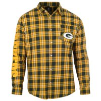 Green Bay Packers Wordmark Flannel Long Sleeve Button-Up - Green/