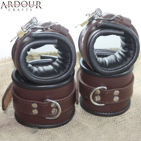 Padded Brown Real Leather Wrist Ankle Cuffs 4 Pieces Set Restraints Lockable (Wrist Restraint)