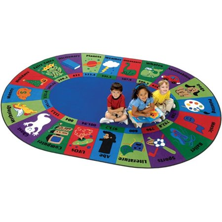 Carpets For Kids 5795 Dewey Decimal Fun 6.75 ft. x 9.42 ft. Oval Rug