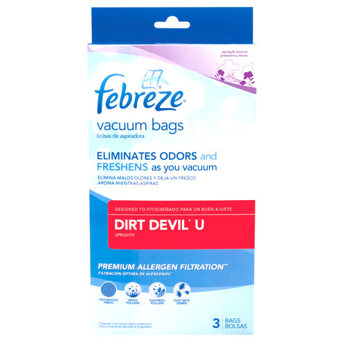 Febreze Vacuum Bags, Dirt Devil Style U, Pack of 3