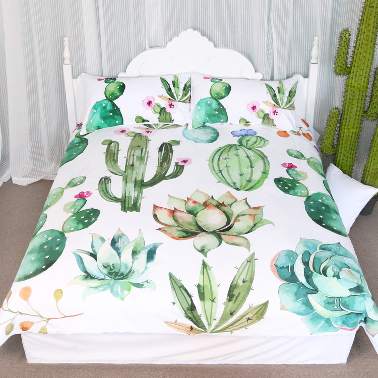 Arightex 3pcs Green Plants Cactus Bedding Nature Duvet