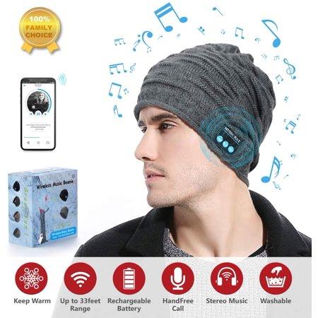 Sunnywoo Bluetooth Beanie Hat, Wireless Bluetooth Hat Smart Headphone Premium Knit Cap with Speaker & Mic, Unisex - image 1 of 5