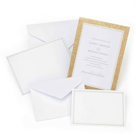 Gartner Studios Platinum Glitter Invitation, 50 - Cheap Party Invitations
