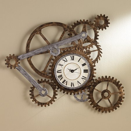 Southern Enterprises Elko Gear Wall Art with Clock ()
