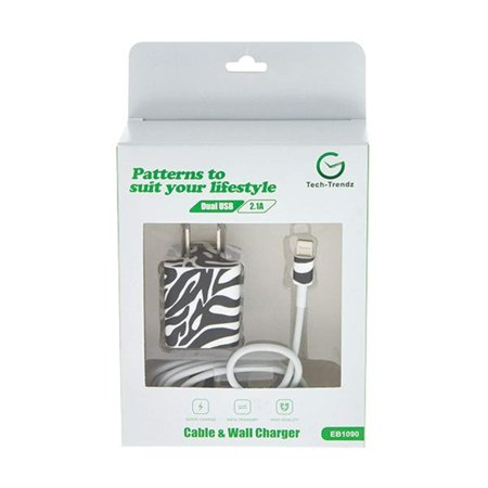 Tech Trendz Zebra Pattern Cell Phone Charger Set Compatible with Mobile Device iPhone 5 and Above