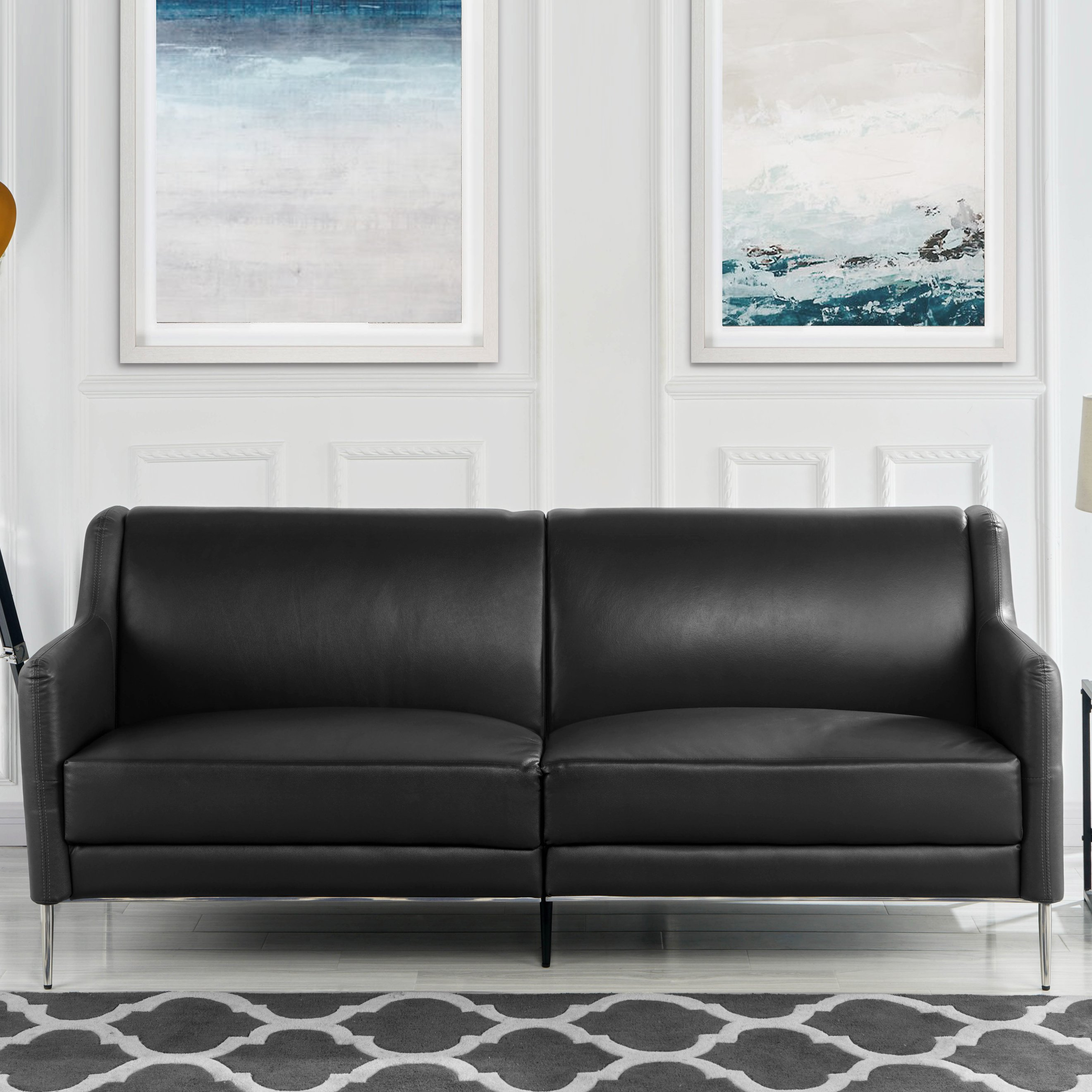 "Mid Century Leather Sofa 77.1"" inches, Sleek Simple Living Room Couch (Black)"