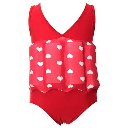 (Swim Trainer for Kids, Coxeer One Piece Floating Swimwear Flotation Suit for Little Girls)