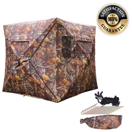 Koval Inc  Pop Up Ground Wood Leaf Camouflage Hunting Blind Hub Style  Camo  Square