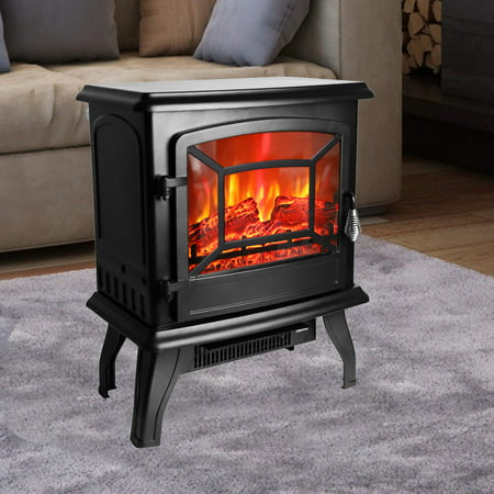 ROVSUN 1400W Free Standing Electric Fireplace Heater Fire Stove Flame Wood Log