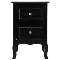 Zimtown Black Night Table Storage Table,Wood End Table Nightstand Side Table