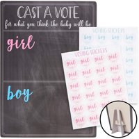 Gender Reveal Party Game, Cast Your Vote Board with Stand, Boy or Girl Ballot with 120 Voting Stickers for Baby Shower, 12 x 17 inches