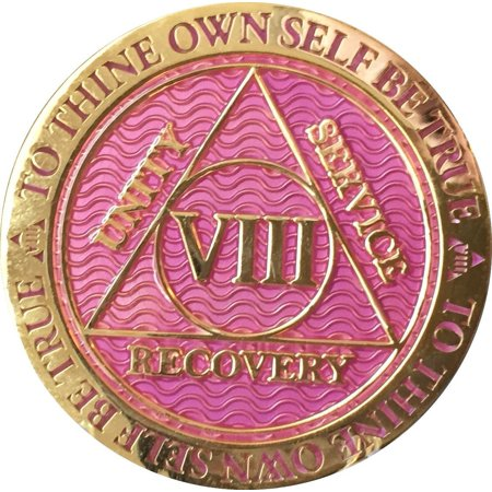 8 Year AA Medallion Reflex Lavender Pink Gold Plated Sobriety Chip