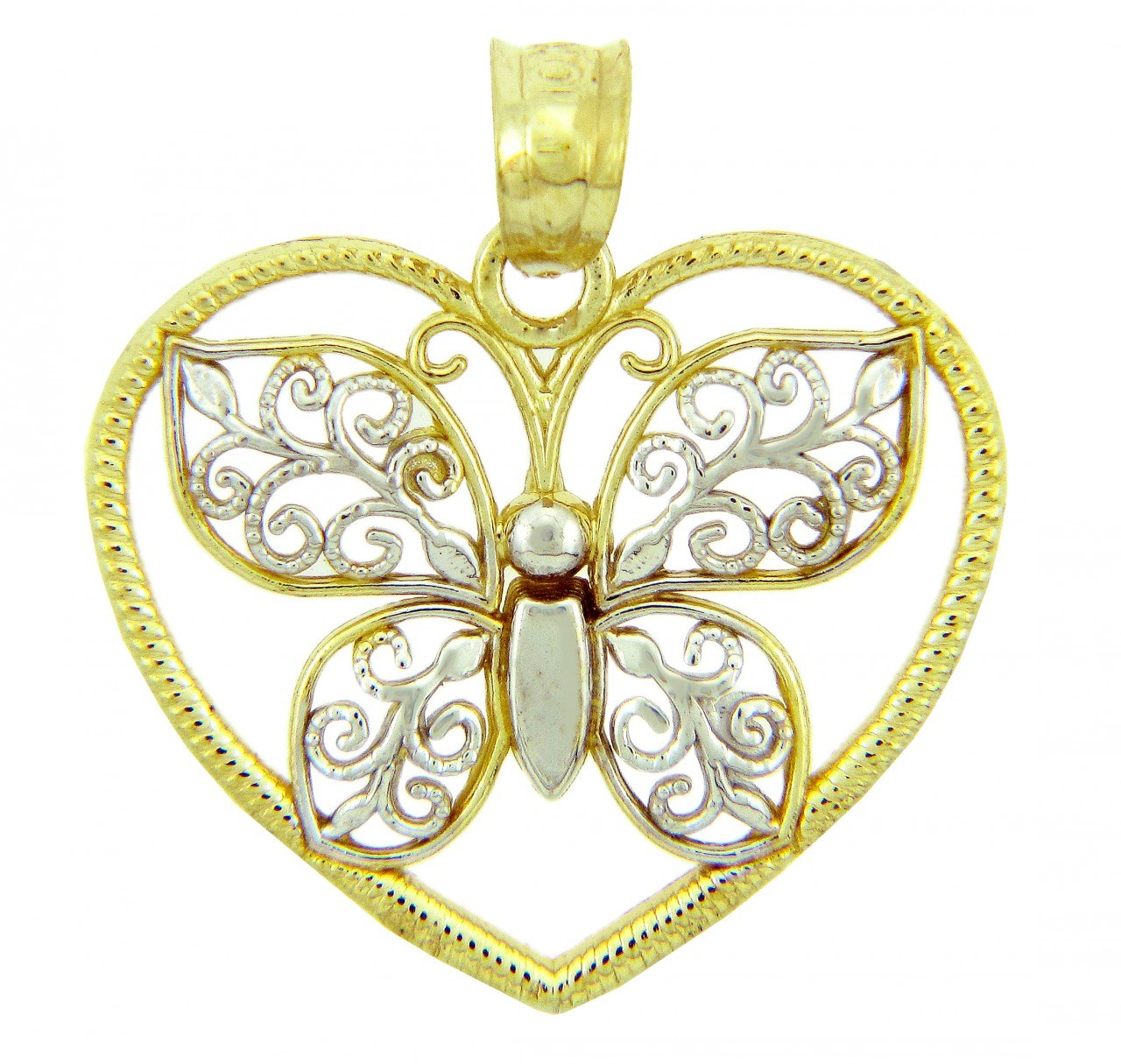 Two-Tone Gold Butterfly ; Heart Charm Pendants