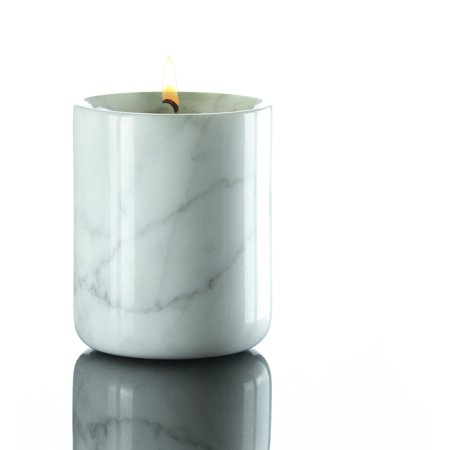 Vanilla Marble - Soy Candles in Marble Jar Lavender, Vanilla, Jasmine Orange Blossom, Sandalwood, Cinnamon Spice and Rose Scents in White or Black Marble by Willow Lane Home - Cinnamon Spice In White/Grey Marble
