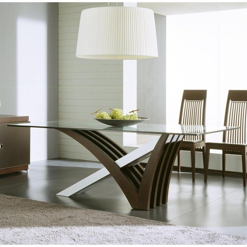 Rossetto Mirage Clear Glass Dining Table in Wenge by Rossetto